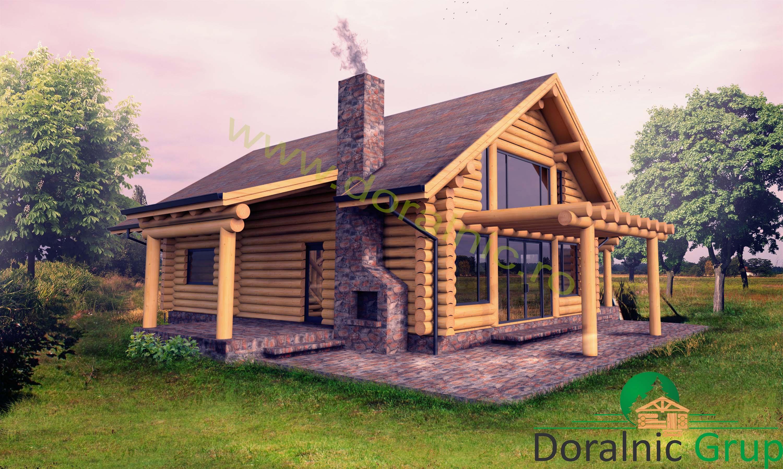 Proiect doralnic 11 case din busteni cabane din lemn for Case de lemn rotund